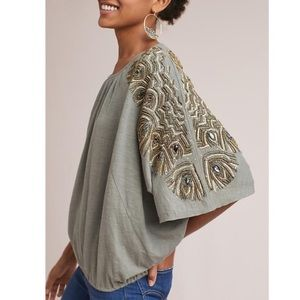 Anthropologie Vanessa Virginia Feather Cloaked Top